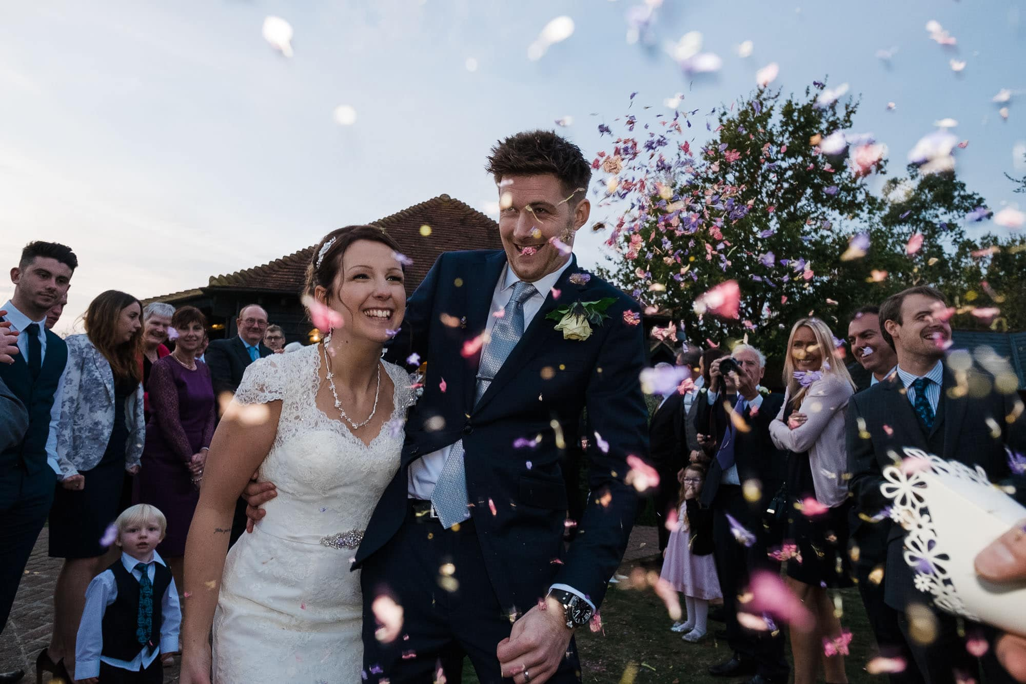 wedding confetti photograph, Crabbs Barn, Kelvedon, Essex.